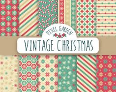 SALE - 70% OFF. Vintage Christmas Digital Paper Pack, Snowflakes Scrapbooking Paper, Candy Cane Digital Clip Art. Retro, Red, Teal, Cream.