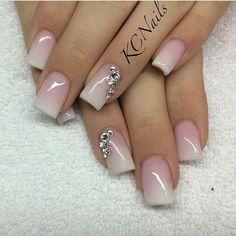 Wedding Nails Beautiful pink to white fade acrylic nails! Fabulous Nails, Gorgeous Nails, Pretty Nails, Fancy Nails, Love Nails, Sparkle Nails, Prom Nails, Wedding Nails, Wedding Acrylic Nails