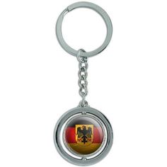 Germany With Crest Flag Soccer Ball Futbol Football Spinning Round Metal Key Chain Keychain Ring, Silver