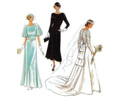 1930s Style Wedding Gown Bridesmaid Dress Pattern Simplicity 60th Anniversary Simplicity 9560 Size 8-14 B31-B36 1930s Fashion, Vintage Fashion, Patterned Bridesmaid Dresses, Gored Skirt, 1930s Style, Elegant Wedding Gowns, 60th Anniversary, Brides And Bridesmaids, Big Hair