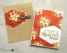 Die cut window, 2 cards from one piece. Stamped Background Video by Jennifer McGuire Ink