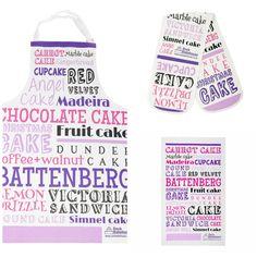Cake Typography Gift Set - Apron, Oven Glove and Tea Towel