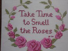 vintage EMBROIDERED ROSE picture/ Take Time by OldSteamerTrunkJunk, $18.00