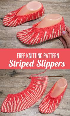 Slippers Knit Flat Knitting Patterns - In the Loop Knitting Knitted Socks Free Pattern, Crochet Shoes Pattern, Knitting Socks, Knitting Patterns Free, Free Knitting, Baby Knitting, Crochet Socks, Knit Slippers Pattern, Knitting Machine
