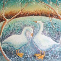 'Snow Geese' By Hannah Giffard. Blank Art Cards By Green Pebble.
