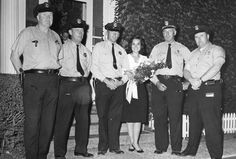 "Five of Salem's finest led by Sgt. Francis Linsky escorted one of America's finest, Mary Ann Mobley, ""Miss America of 1959"" at Mack Park's annual field day.    Shown above are:  Officers Andrew Coughlin, Jay McDonald, William Horan, Mary Ann Mobley ""Miss America of 1959"", Sgt. Francis Linsky and Officer Frank Wrigley."