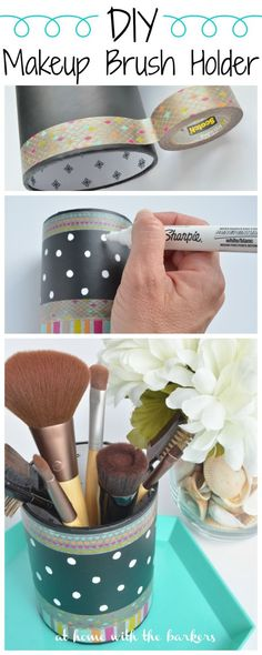 DIY Makeup Brush Holder made from a thrift store pencil organizing cup. Easy, affordable and personalized. Great Gift giving idea too!