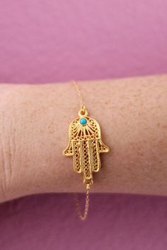 Gold Filigree Hand of Fatima with Blue Jade Bead Bracelet #style #fashion #accessories