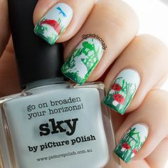 Polish is Sky by Picture Polish, stamped with a variety of plates - messy mansion, winstonia, marianne nails and born pretty. Mushrooms were coloured in with jelly polish using the leadlight technique.