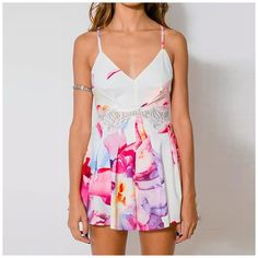 Bohemian Tropical Floral Pattern Romper with Lace Midriff Summer Jumpers, Online Shopping Clothes, Affordable Fashion, Fashion Boutique, Boho Chic, Rompers, Clothes For Women, Formal Dresses, Lace