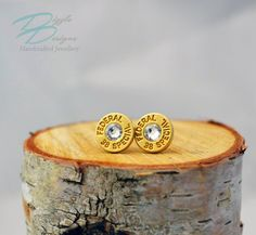 Genuine Federal 38 Special Bullet Casing Stud by DizzleDesigns 38 Special, Bullet Casing, Bullet Jewelry, Urban Chic, Handmade Jewellery, Men's Accessories, Ontario, Jewelry Collection, Swarovski Crystals