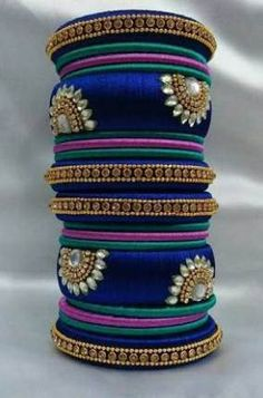 Silk Thread necklace Indian design Bangles