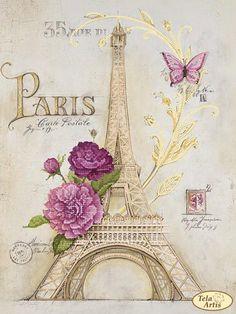 OJIA Retro Vintage Paris Eiffel Tower Home 18 X 18 Inch Cotton Linen Decorative Throw Cushion Cover / Pillow Sham Paris Kunst, Paris Art, Vintage Paris, Retro Vintage, Vintage Travel, Embroidery Kits, Beaded Embroidery, Embroidery Jewelry, Image Deco