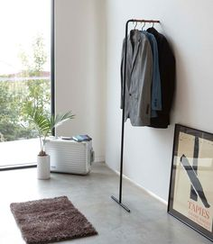Yamazaki Slim Coat Hanger Tall Measurements W X D H Material Steel And Wood Care Wipe With A Damp Cloth Brand