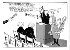 Date: 1972 By: Lodge, Nevile Sidney, 1918-1989    Ref: B-134-282    Shows an auctioneer asking for bid to buy statues of a male and female voter. Finally the Social Credit Party offers him a manifesto, as John Marshall (National Party leader), and Norman Kirk (Labour Party leader) turn to look around at Social Credit.    Published in the Evening Post in early November 1972.