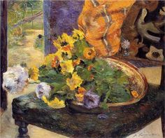 by Paul Gauguin in oil on canvas, done in . Now in a private collection. Find a fine art print of this Paul Gauguin painting. Paul Gauguin, Tahiti, Paul Cézanne, Henri Matisse, Pablo Picasso, Making A Bouquet, Impressionist Artists, Van Gogh Paintings, Pierre Bonnard
