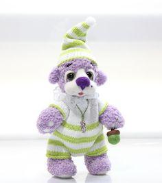 GNOME Baby Bear   Artist Teddy Bear  /  Lavender Bear / by TaniaSh