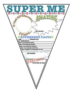 SUPER ME BANNER- SUPERHERO ALL ABOUT ME - TeachersPayTeachers.com