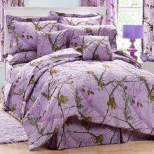 Realtree AP Lavender Camo 8 Pc Queen Comforter Set