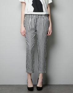 PLEATED STRIPED TROUSERS - Trousers - Woman - ZARA