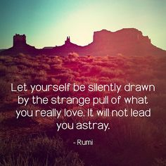 Let yourself be silently drawn by the strange pull of what you really love. It will not lead you astray. ~ Rumi