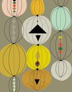 retro art by Jenn Ski. Textile Patterns, Textile Design, Textiles, Print Patterns, Fabric Design, Retro Pattern, Pattern Art, Pattern Design, Print Design