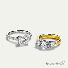 Browns Bridal. A collection of Engagement Rings. Protea Princess Ring & Protea Trilogy Ring