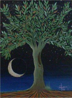 Árvore da Vida na magia da noite. Claudio Rosa acrílico sobre tela.