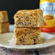 a rich buttery brownie made with International delight Southern Butter Pecan coffee creamer