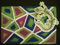 Pop out reptile using pastels by a faithful attempt