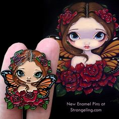 "Now in stock & available to the public - ""Rose Fairy"" collectible enamel pins - worldwide shipping at Strangeling!  #jasminebecketgriffith #strangeling #fantasyart #art #painting #bigeyes #bigeyeart #bigeyedart #newcontemporary #strangelingpins #fairy #fairyart #lapelpin #popsurrealism #lowbrowart #lapelpin #pingame #pintrader #enamelpins #pintrading #patreon #rose #roses #flowerfairy #artistpins #fairypin #artistpin #pinstagram"