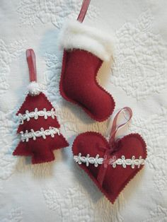 Red wool handmade christmas ornaments by molleydzigns on Etsy, $16.00