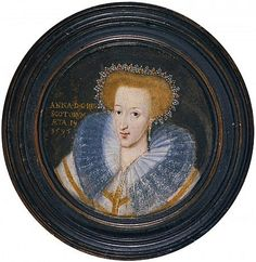 Anne of Denmark, 1574 - 1619. Queen of James VI and I. Dated 1595 .... Anne was the daughter of Frederick II, King of Denmark and Norway. It was arranged for her to marry James VI of Scotland and, in September 1589, she set sail to meet her new husband. With no sign of Anne's arrival by October, James decided to try and find the party. He eventually found her in Upslo (now Oslo) where they officially wed. They returned to Scotland on 1 May 1590. With the death of Queen Elizabeth in 1603 and…