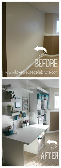 Custom Craft Space before and after. How to create a craft desk or nook when you don't have a full room - Love Create Celebrate