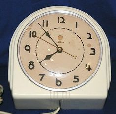 Vtg 1930s Warren Telechron 2H07 Art Deco Electric Wall Clock White Refurbished!