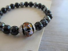 Animal print stretch bracelet Black swirl lamp por SeptemberWillow