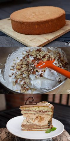 Ukrainian classic cake that is light in flavor, with meringue hazelnut layer