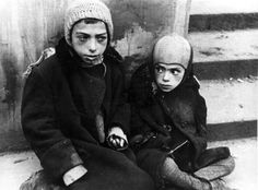 Warsaw, Poland, Two children in the ghetto.