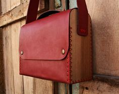 Red Wood Leather Bag Custom | Gift for her | Women's bag | Shoulder Bag | Leather Purse | Girl | Unique | Handpainted