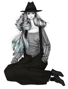 ISSA GRIMM Fashion illustration | a look from Yohji Yamamoto Fall 2010