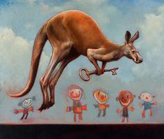 "James McLaughlin Way - ""Kangaroo With Key"" --Oil on linen."