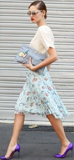 #summer #fashionistas #outfitideas | Cream   Mint Floral   Purple