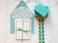 Tiffany Blue DIY Wedding Invitation Suite with doily