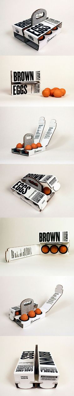 6 Brown Eggs (Concept) *** Designed by Sarah Machicado, a graduate from Maryland Institute College of Art. The design is beautiful. Branding And Packaging, Egg Packaging, Innovative Packaging, Cool Packaging, Food Packaging Design, Packaging Design Inspiration, Takeaway Packaging, Coffee Packaging, Bottle Packaging