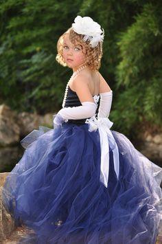 Navy Blue Flower Girl Tutu Dress W/ Detachable Train Flower Girl Gown, Flower Girls, Tulle Dress, Dress Up, Wedding Attire, Wedding Dresses, Wedding Navy, Spring Wedding, Robes Tutu