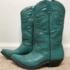 Boho Authentic Cowboy Boots Authentic Cowboy Boots. Made in Mexico. Tom Houston Boots. Real leather. Teal color. Pair them with jean shorts and a long kimono for a Burning Man or Coachella  inspired look. Tom Houston Shoes Heeled Boots