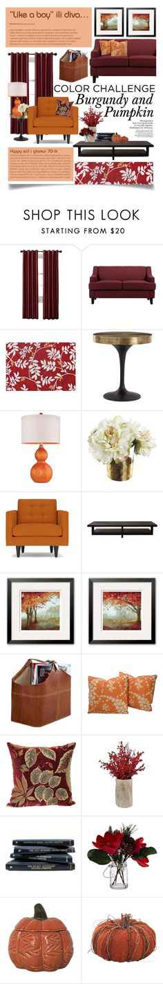 """""""Color Challenge: Pumpkin and Burgundy"""" by ittie-kittie on Polyvore featuring interior, interiors, interior design, home, home decor, interior decorating, Homelegance, St. Nicholas Square, Arteriors and Universal Lighting and Decor"""