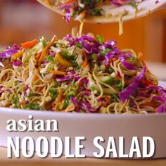 The Pioneer Woman preps a flavorful Asian Noodle Salad with plenty of fresh vegetables Drizzle it with an oyster sauce and vinegar dressing and youre ready to go in less. Vegetarian Recipes, Cooking Recipes, Healthy Recipes, Vegetarian Salad, Best Salad Recipes, Cooking Games, Healthy Salads, Asian Noodles, Spicy Thai Noodles