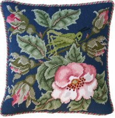 Grasshopper Cushion (blue) - Beth Russell Needlepoint
