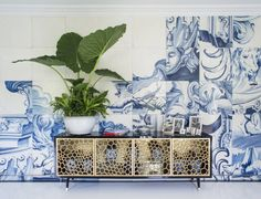 unusual hand painted blue tiles Blue and White Bedroom Makeover - San Francisco Showcase Bedroom 2014 - ELLE DECOR